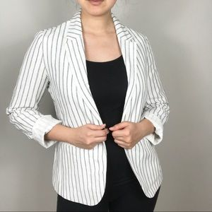 NEW Gap White Blue Stripe Linen Blazer Jacket